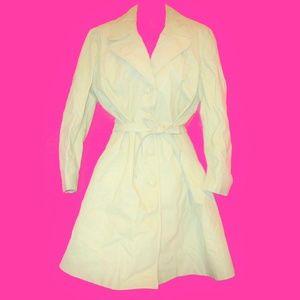 1970s vintage white leather long coat size large
